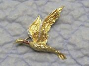 Stunning 18k Gold Diamond And Ruby Flying Duck Pin