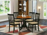 5pc Dinette Kitchen Dining Set 36 Round Table + 4 Padded Chairs Black And Cherry
