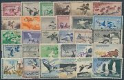 Rw2 // Rw33 30 Diff. F-vf Used Duck Stamps Some With S.e. Cv 854 Br1686