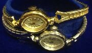 2 Vintage 14k Solid Gold Bulova Watches Goddess Of Time Ladies White And Yellow