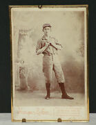 Late 1800's Baseball Player Orig. Cabinet Photo W/period Antique Frame, Ex