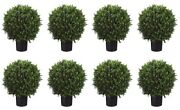 8 Artificial 24 Boxwood Topiary Ball In Outdoor Tree Silk Plant Bush Patio Pool