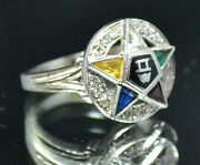 Size 6 - 14k White Gold - Order Of The Eastern Star Ring          1640