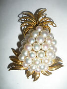Exquisite Vintage 14k Gold And Cultured Pearl Pineapple Brooch Circa 1960s/1970and039s