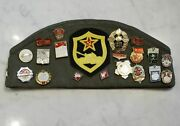 Soviet Union Russia Military Hat And Pins. Ussr Cccp Badge Tank Patch Cap. Rare