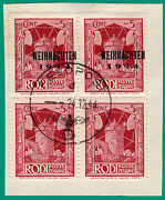 Greece Germany Dodecanese 1944 5 C. B4, Ovp. Type I, Two Without Ovp. Used Sign