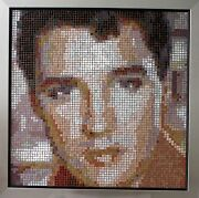 Elvis Presley Glass Mosaic /mounted On Wood / Framed /hand Cut Technique