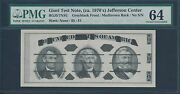 Giori Test Note 1970and039s Jefferson Center Pmg 64 Choice Unc Hv7971
