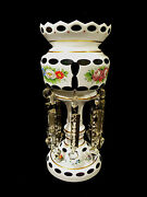 Beautiful Vintage Czechoslovakian White Cased Cut-to-green Crystal Mantel Luster