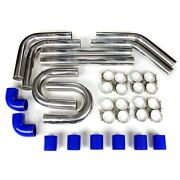 2.75 Universal Aluminum Intercooler Turbo Piping Pipe Kit+ Silicone+clamp Blue