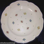 "ZELLER KERAMIK PETITE ROSE DINNER PLATE 10"" BLUE TRIM MULTICOLOR FLOWERS"