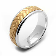 10k Yellow Gold N .925 Sterling Silver Band With Braided Motif Free Size 4-14