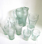 9 Pc Vtg Green Tint Pebble Textured Coca Cola Glass Pitcher And Glasses