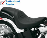 Drag Specialties Slim Smooth Flamed Leather Seat Wide Tire Harley Softail Fatboy