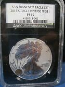 2012-s 1.00 Silver Eagle Reverse Proof Ngc Pf 69 25th Anniversary