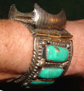 Vintage Sterling Silver And Tourquoise Watch Band Made In Early 1970's