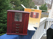 Gold Label Armoire Musical Jewelry Box Wood Cabinet Necklace Hooks Organizer