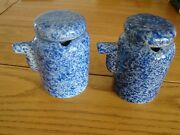 Country Life Emporium Maine Set Of 2 Sponge Pottery Covered Syrup/soy/creamer