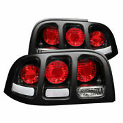 Anzo 221020 Black Clear Lens Incandescent Tail Lights Fit For 94-98 Ford Mustang