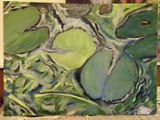 Fine Art Oil Painting, Floral / Pond , Waterlily X, 24 X 33 On Canvas