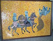 Large Mid Century Modern Evelyn Ackerman Style Mosaic Tile Knights Castle