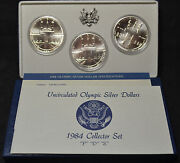 4207 - 1984 P D And S - Unc Olympic Silver Dollars - Coa