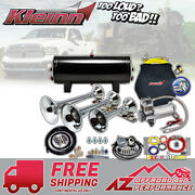 Kleinn Air Horn Model Hk8 Complete Triple Train Horn Kit W/ 150 Psi Air System