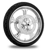 Performance Machine 21 Front Chrome Wrath Wheel Tire Rotor Package Harley 08-13