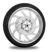 Performance Machine 21 Front Chrome Supra Wheel Tire Rotor Package Harley 14-15