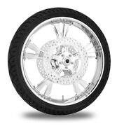 Xtreme Machine Fierce Chrome 21 Front Wheel Tire Rotor Package Harley 08-16 Abs