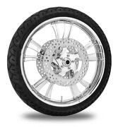 Xtreme Machine Cruise Chrome 21 Front Wheel Tire Rotor Package Harley 08-13 Abs