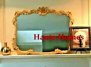 New French Large 44 Ornate Scroll White Gold Shabby Chic Wall Buffet Mirror