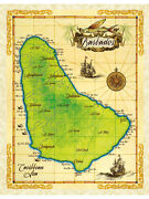 19.5 X 25 Barbados Vintage Look Map Poster Printed On Parchment Paper