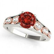 1.17 Cts Cherry Red Diamond Solitaire 14k White Gold Valentine Day Spl.sale Ring