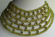 Cleopatra Style Vintage Green Faceted Crystal And Rhinestone Wide Collar Necklace