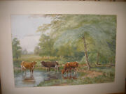 Large Signed Thomas Bigelow Craig Watercolor Painting Of Cows In Landscape