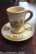 Veneto Flair Cup And Saucer Hand Etched And Painted In Italy, Signed,c1980s [83c]