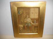 Antique 19thc Musketeer With Sword Watercolor Painting Signed Stacy
