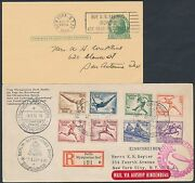 Germany B82-b89 Hindenburg Olympic Stamps On Flight Cover Bs2431