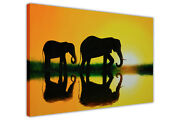 Elephants Painting Silhouette Framed Prints Animal Canvas Wall Art Pictures Deco