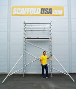 Scaffold Usa 10 Ft Folding Aluminum Scaffold Tower With Guardrail