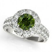 1.25 Ct Green Solitaire Diamond Ring 14k White Gold Best Price Classy Sparkling