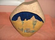Beautiful Hand Crafted Western Desert Ceramic Sculpture Lamp Base Signed