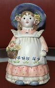 Vintage Lady Cookie Jar Pink, Blue And White Glass Eyes Made In Japan