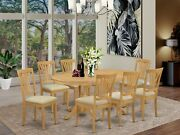 East West 9pc Dining Set Vancouver Oval Table + 8 Avon Padded Chairs Light Oak