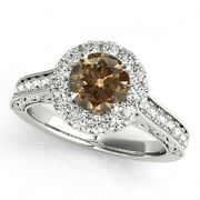 1.33 Carat Champagne Brown Diamonds Two Row Band Engagement Ring 14k Gold Beauty