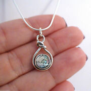 Ancient Roman Glass Infinity Knot Necklace -925 Sterling Silver- Love Patina Sn