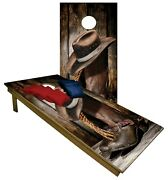 Cornhole Boards Beanbag Toss Game Cowboy Boots And Hat With Bags Set 197