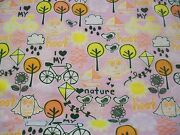 I Heart Nature Snuggle Flannel Fabric - Bty - Trees Bicycles Owl Flowers On Pink
