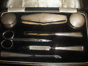 Antique English Grooming Set Cased Collins Cook Sterling Silver 2 Pill Snuff Box